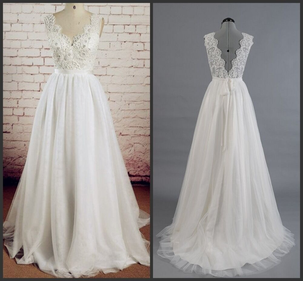 Simple Beach Wedding Dresses V-neck Lace Applique Low Back