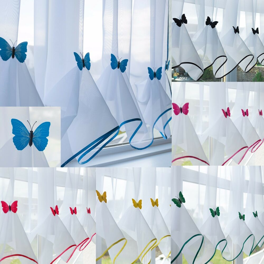 Butterfly Voile Curtain With Matching Piping - Kitchen Blind - Cafe ...