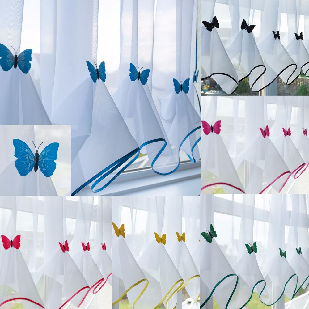 Blue Green Kitchen Curtains: Butterfly Voile Curtain With Matching Piping
