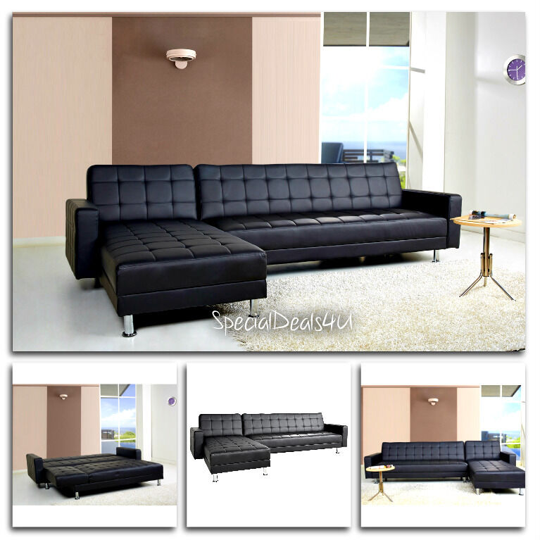 Leather Sectional Sofa Bed Sleeper Modern Couch Furniture