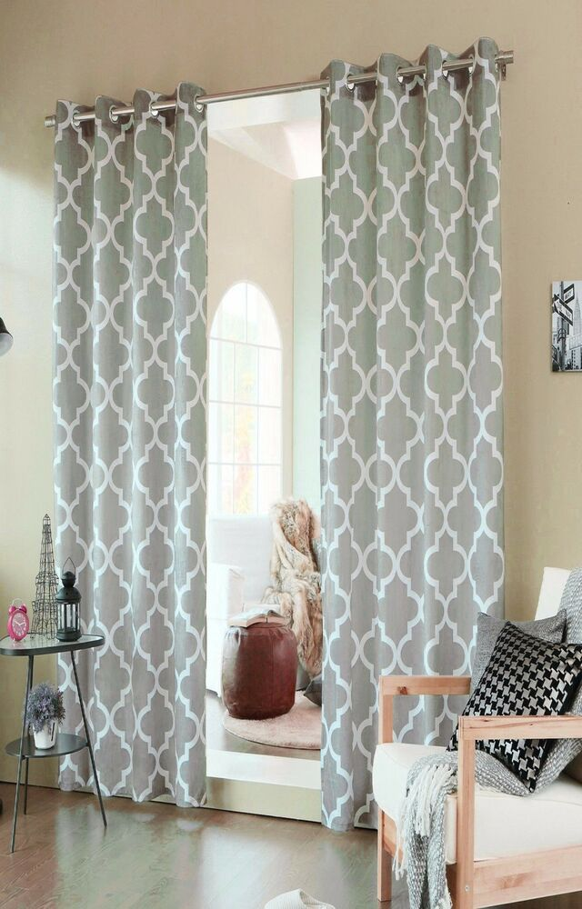 Grey Morroccan Geometric Eyelet Ring Blackout Curtains 54 Wide 72 90 Drop Ebay