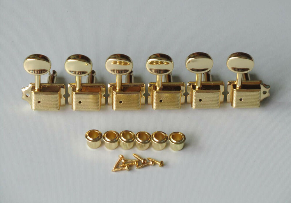 6 inline gold strat tele vintage guitar tuning pegs guitar tuners machine heads ebay. Black Bedroom Furniture Sets. Home Design Ideas