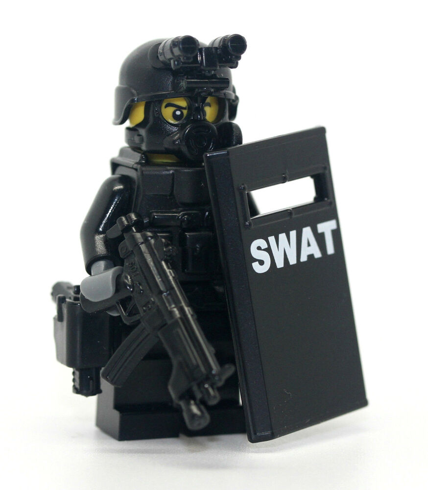 Lego Swat Photo1: SWAT Riot Shielder Police Officer Minifigure Made With