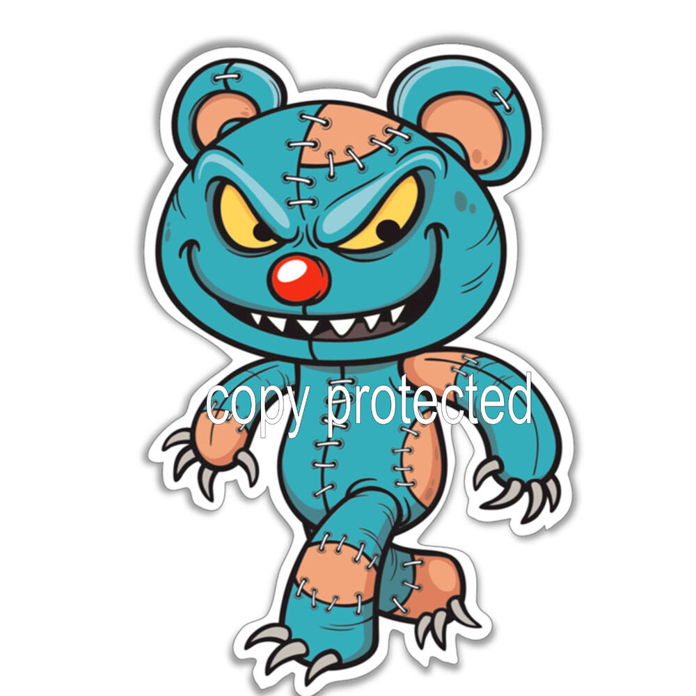 funny car bumper sticker evil teddy bear scary zombie ...