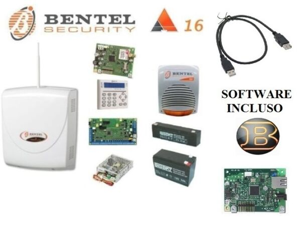 kit absoluta 16 completo BATTERIE IP GSM  cavo programmazione + software