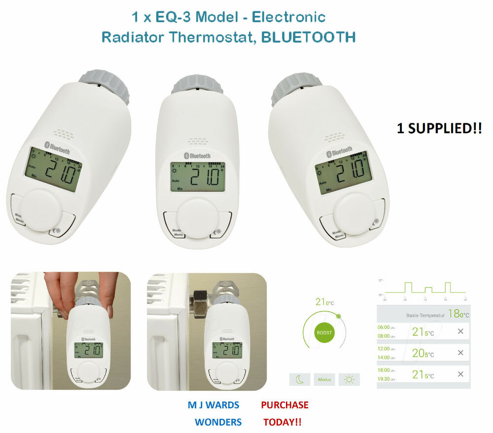 1 x eq 3 model electronic radiator thermostat bluetooth ebay. Black Bedroom Furniture Sets. Home Design Ideas