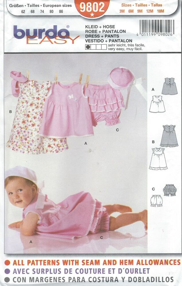 Burda 9802 Baby Infant Dress And Pants 3 To 18 Months