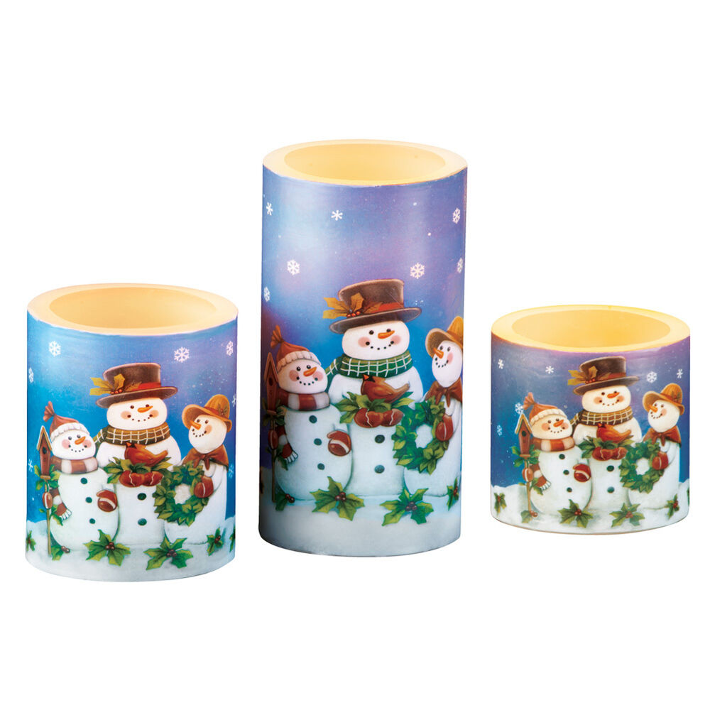 Set Of 3 Led Snowman Candles By Collections Etc Ebay