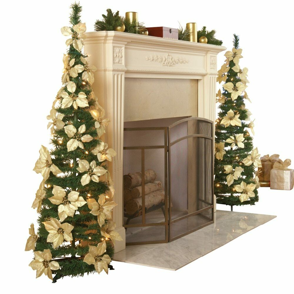 Christmas Tree Collection Gravesend : White pull up poinsettia christmas tree by collections