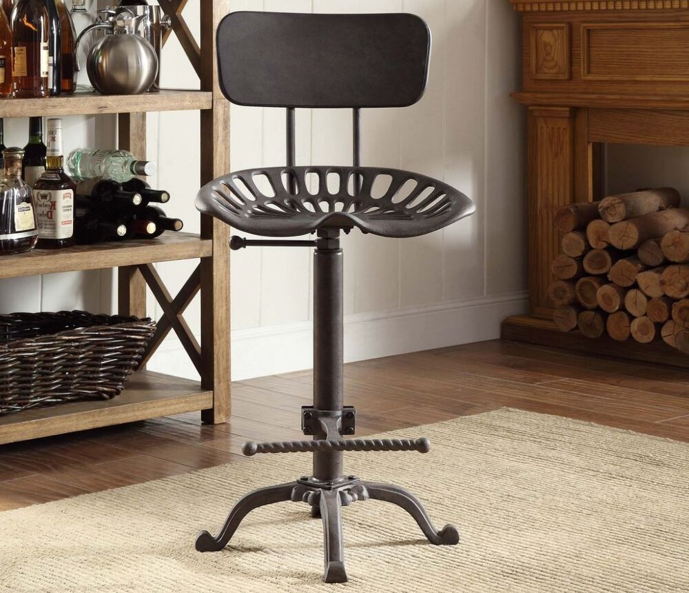 Stoos Metal Tractor Seat Stools : Tractor seat bar stool industrial metal iron adjustable