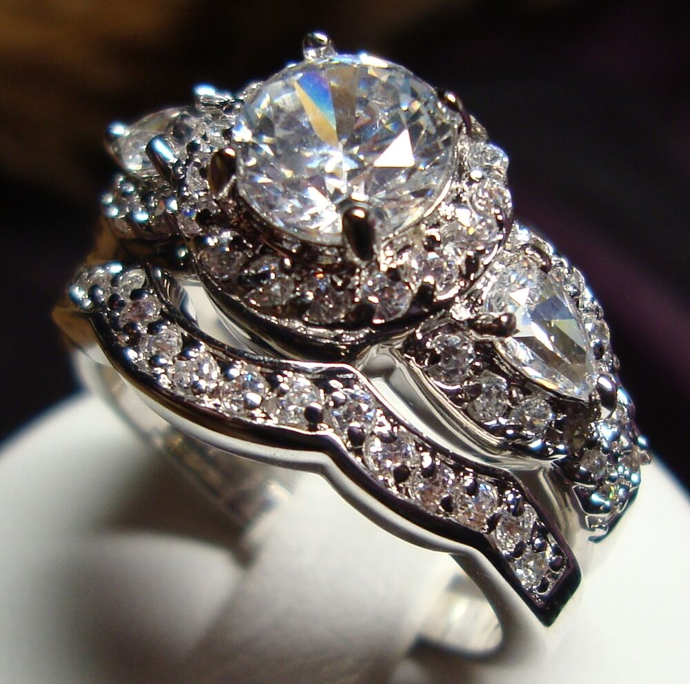 stunning cz vintage style women engagement wedding rings set size 5 to 10 ebay. Black Bedroom Furniture Sets. Home Design Ideas