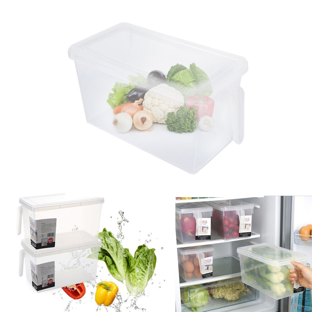 kitchen storage boxes kitchen sealed crisper refrigerator plastic handle food 3126