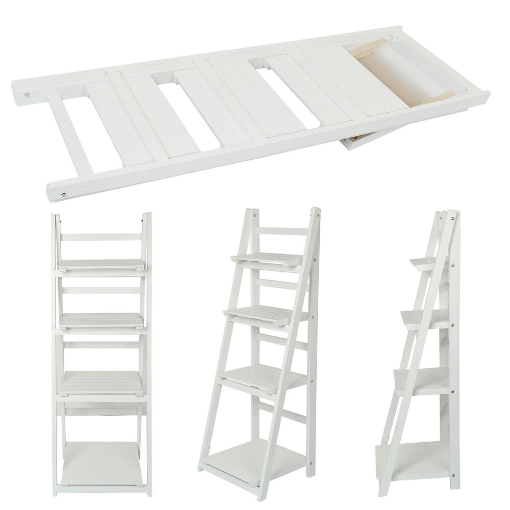 4 Tier White Ladder Shelf Display Unit Free Standing