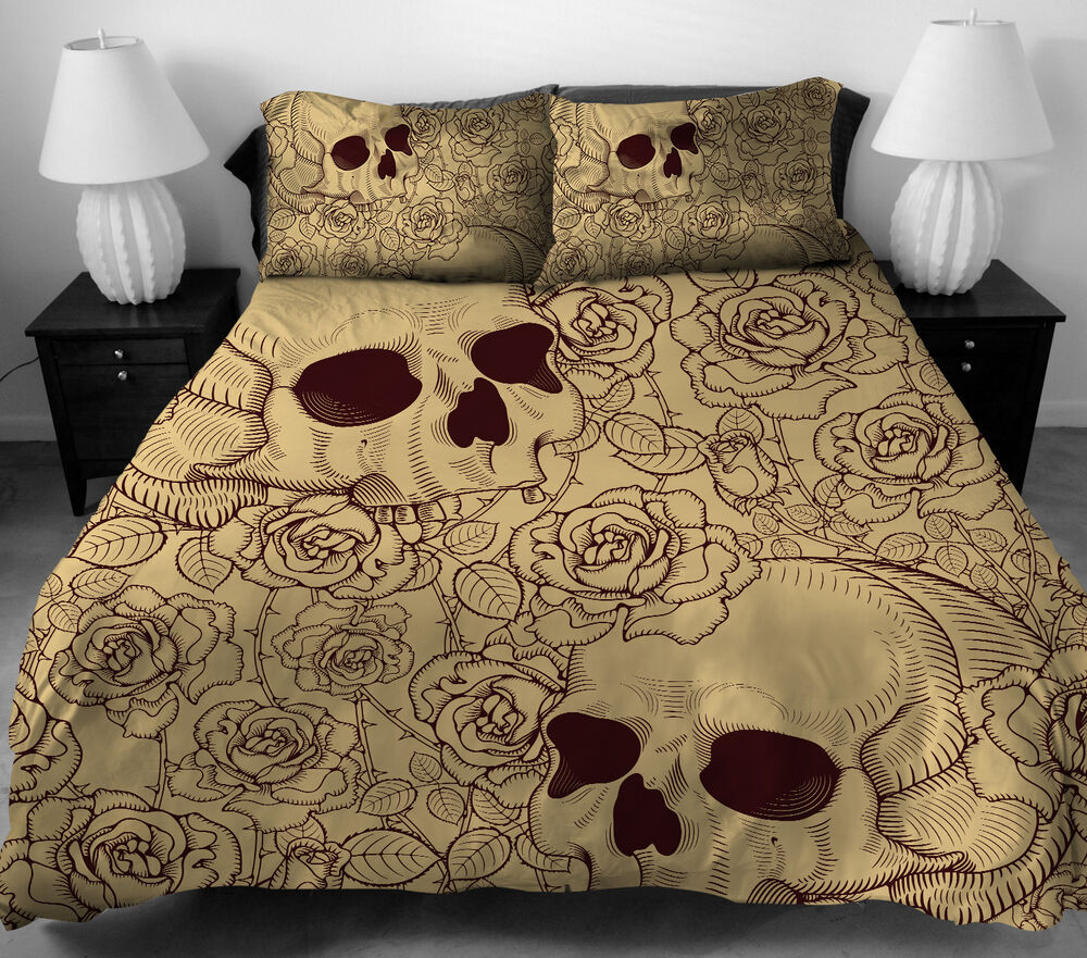 4 Pcs Skull Pattern Bedding Set Full Duvet Cover Bed Sheet