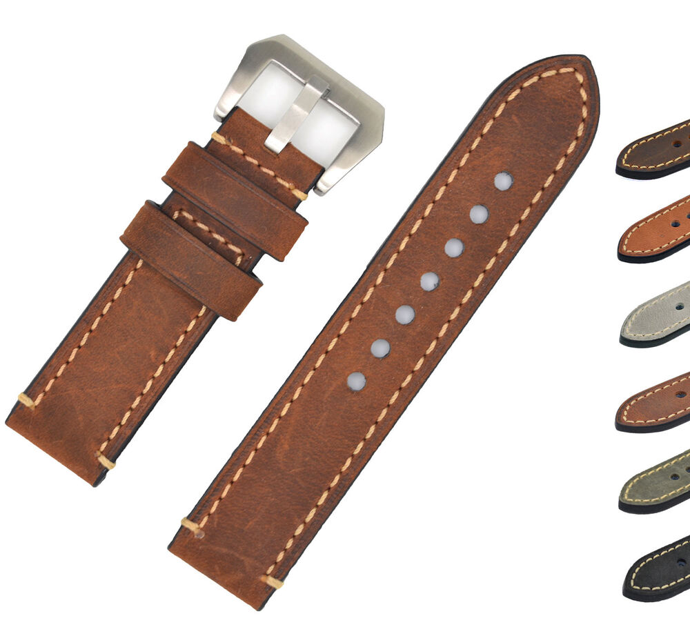 Mens genuine leather watch band strap 20 22 24mm brown black for panerai iwatch ebay for Men gradient leather strap