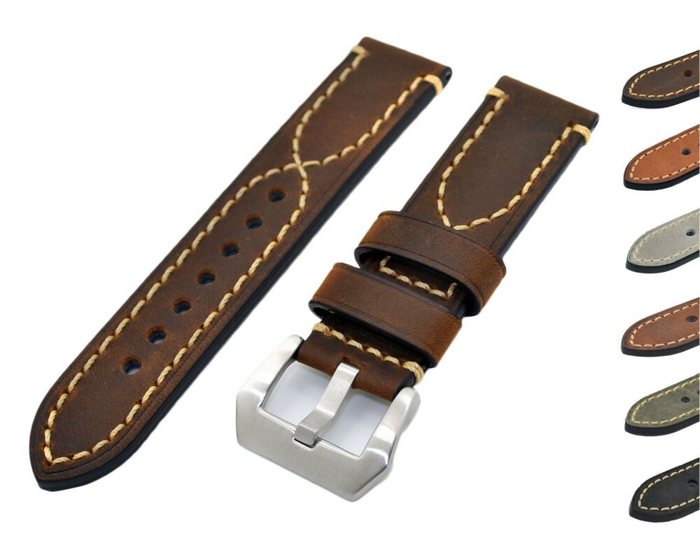 Mens genuine leather watch bands strap 20 22 24mm brown black for iwatch panerai ebay for Men gradient leather strap