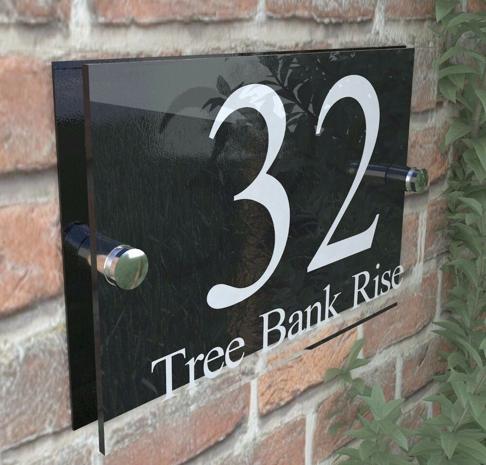 Modern house signs door plaques number acrylic pcs steel perspex free pp ebay