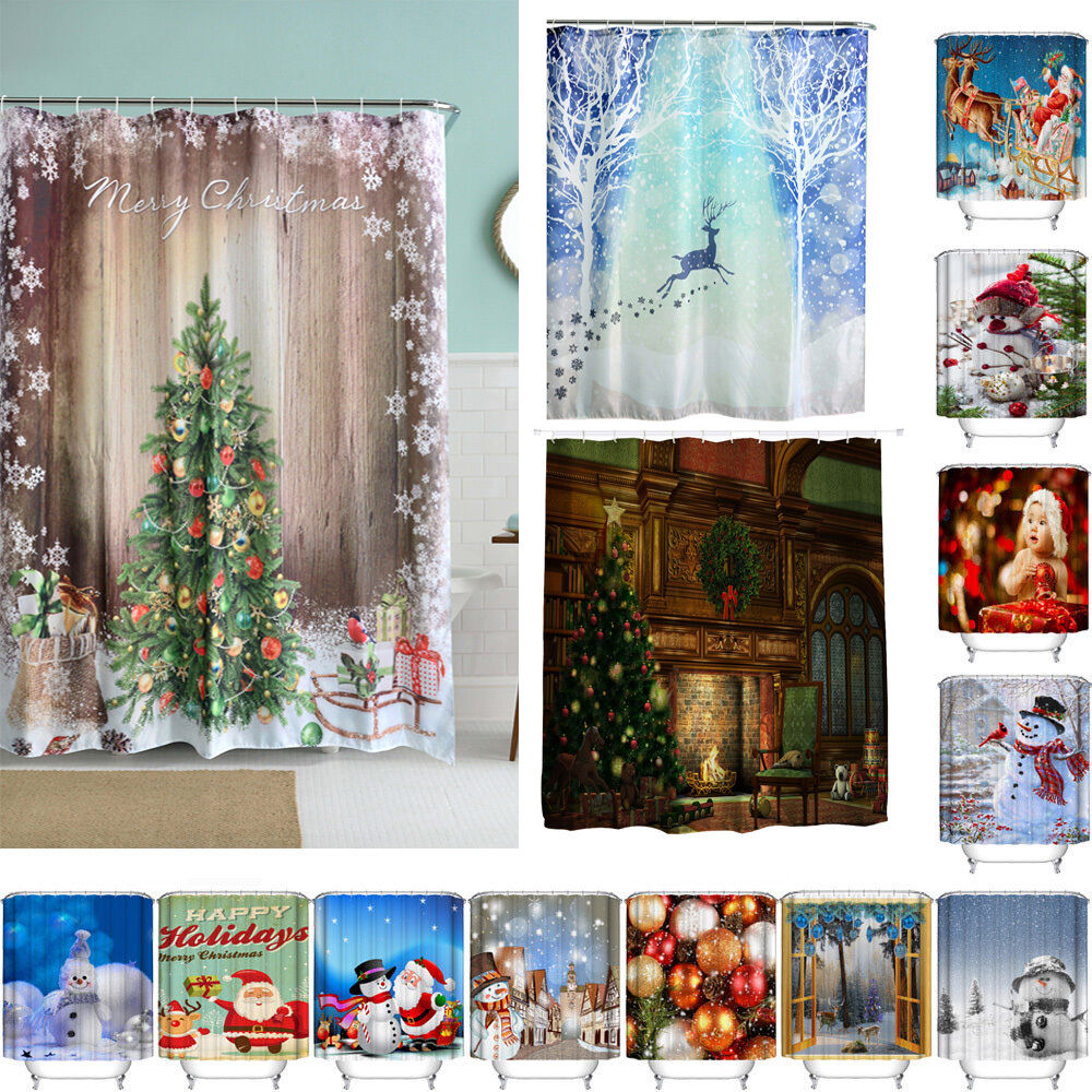36 Color Christmas Waterproof Polyester Bathroom Shower Curtain Decor With Hooks Ebay