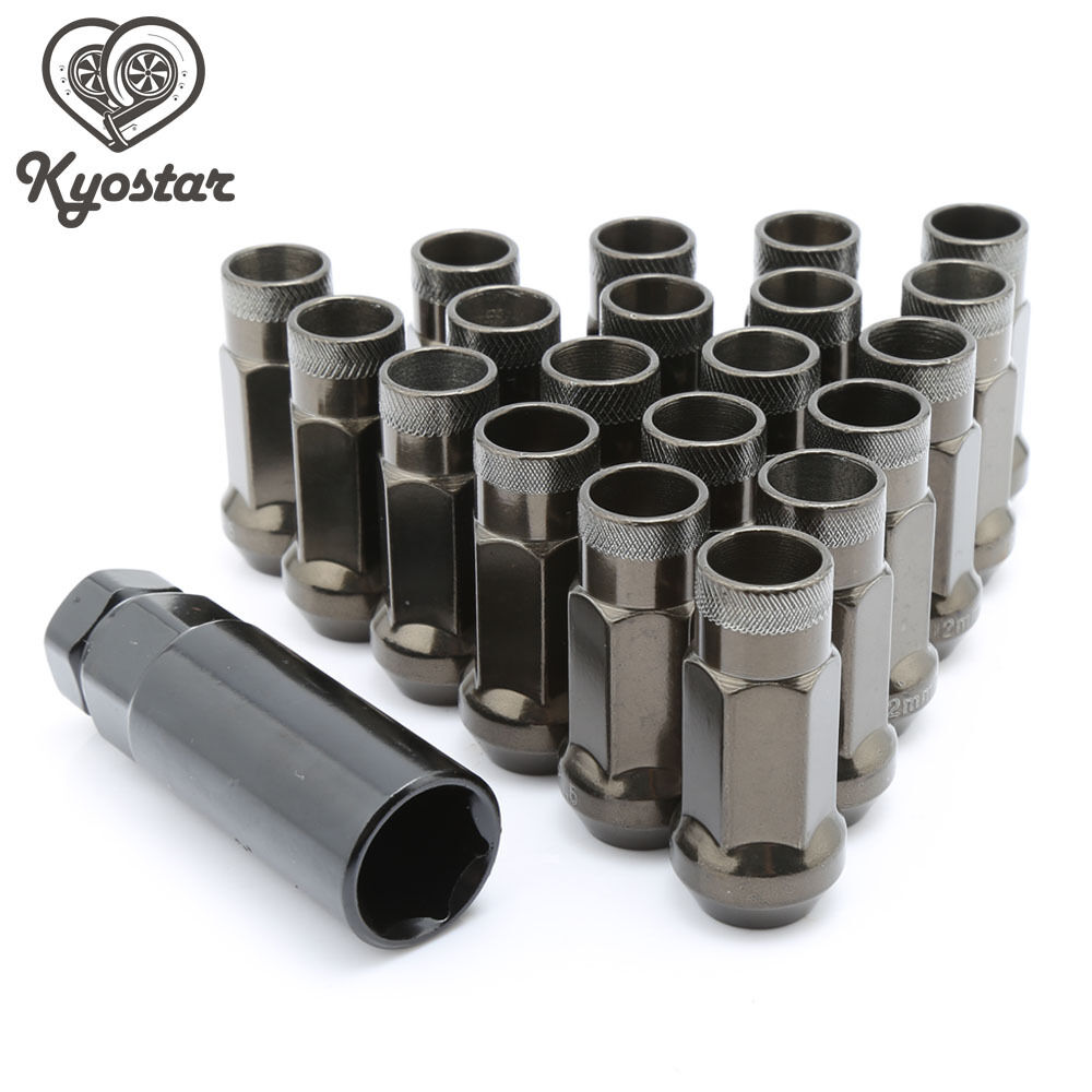 20pc m12x1 25 threa open ended forged steel wheel tuner lug nuts titanium color