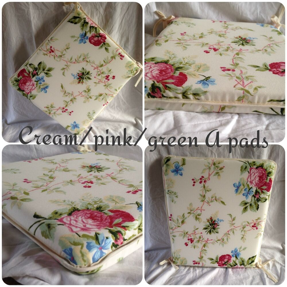 Cream Pink Green A Shape Seat Pads Cushions X4 Kitchen Dining Room Pation Gar