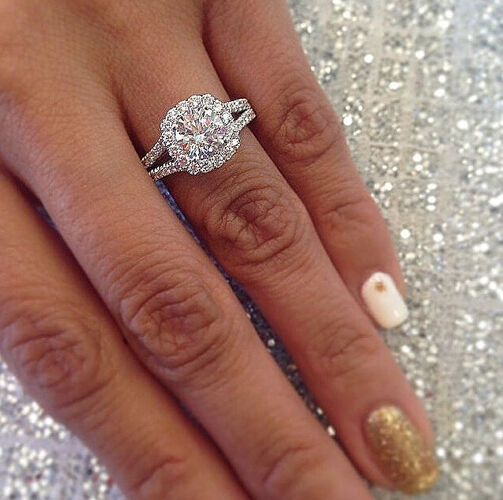 Natural ct round cut diamond halo split shank Which finger to wear ring for single