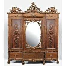 Rustic Black Forest (19th Cent) Walnut 3 Section Armoire Cabinet