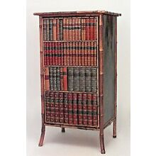 English Victorian Bamboo and Black Lacquered Small Bookcase Cabinet