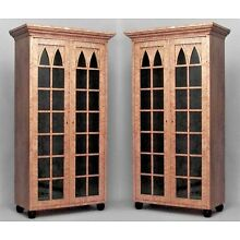 Pair of German Biedermeier (19th Cent) Gothic Style Bookcase Cabinets