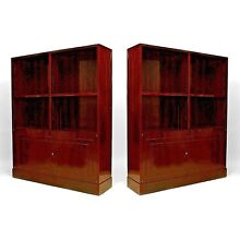 Pair of French Art Deco Bookcase Cabinets, by Dominique