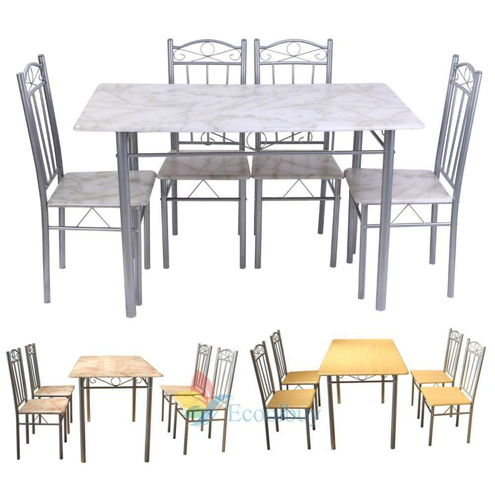 Modern dining room table and chairs set kitchen 4 seater for Stylish dining table set