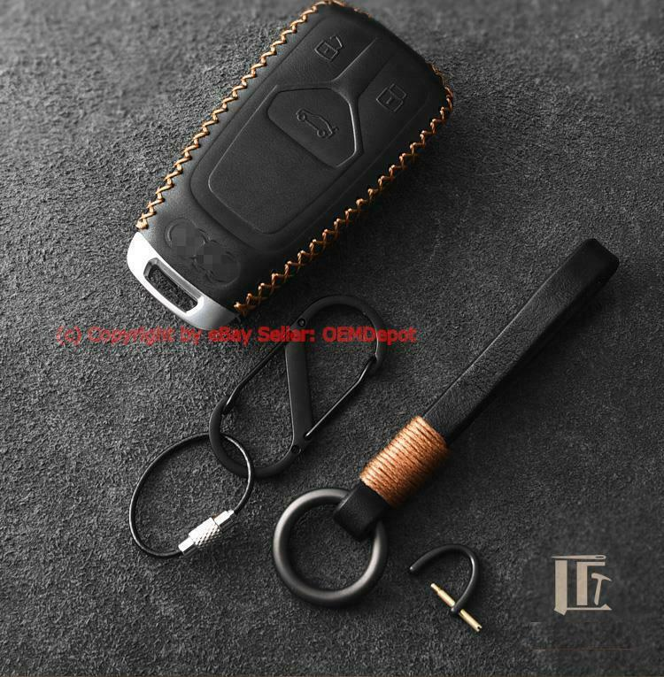 16-17 AUDI Q7 A4 TTS leather FOB key chain ring cover case lobster clasps hook | eBay