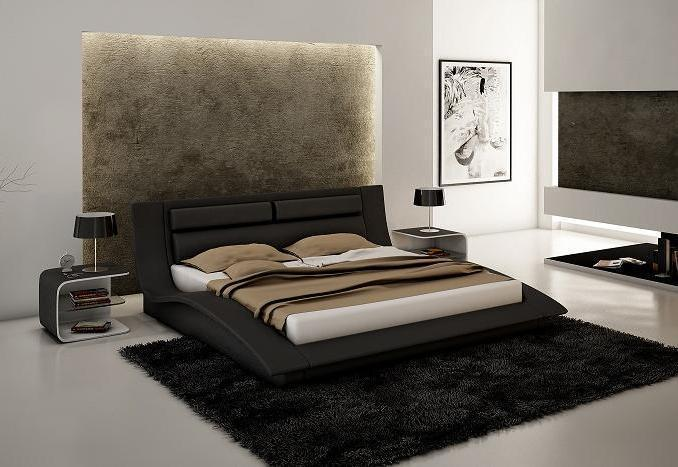 Wave king size modern design black leather platform bed for Mobilia king size bed