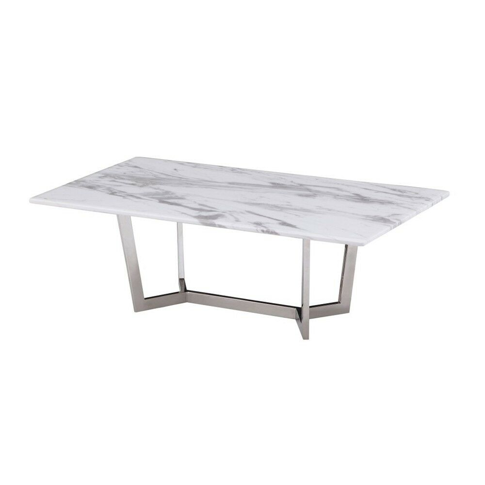 Napoli Marble And Polished Stainless Steel Coffee Table Ebay