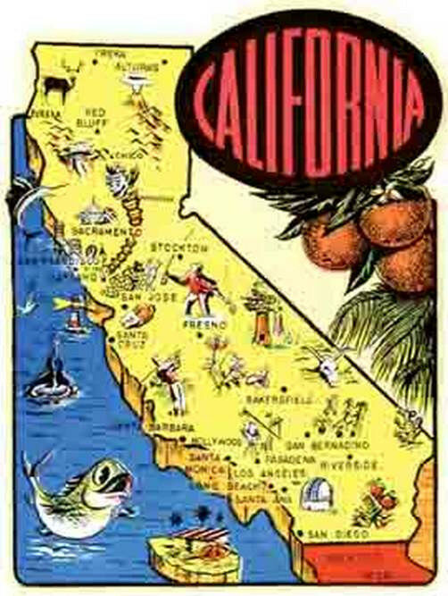 California Cartoon Map Vintage1950s Style Travel StickerDecal – Travel Map Of California