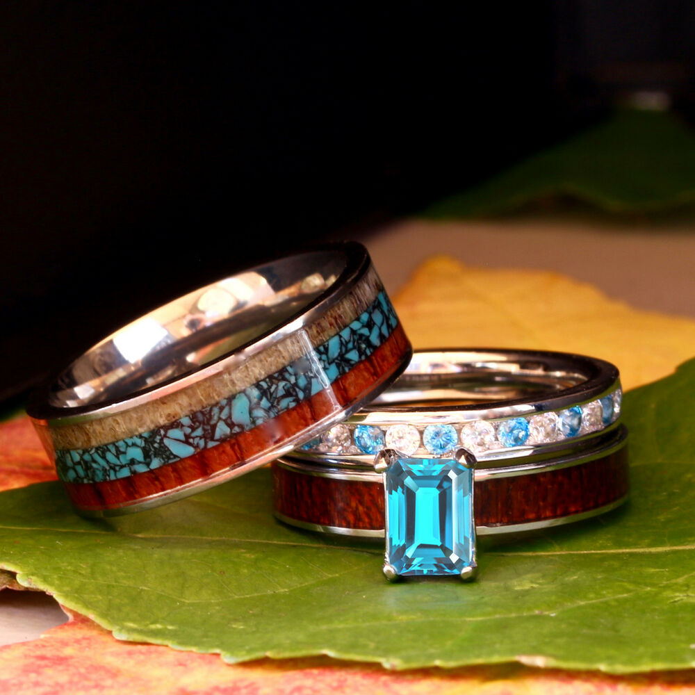 His And Her Wedding Rings Set Blue Topaz Deer Antler