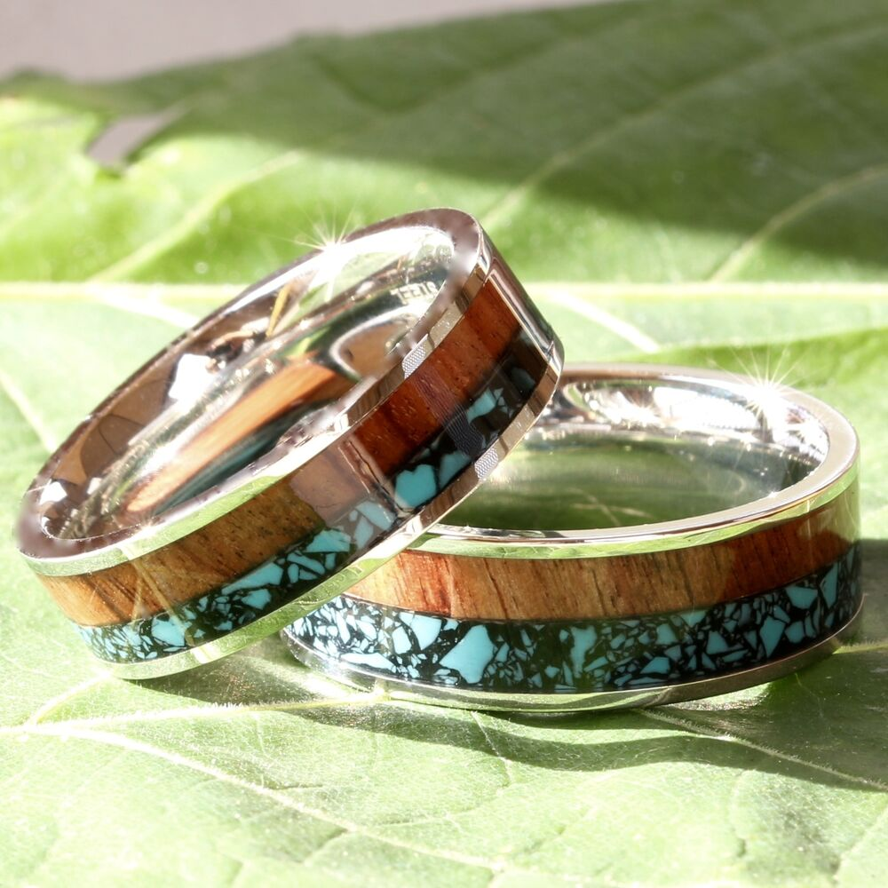 His And Her Wedding Band Set Turquoise Koa Wood Stainless