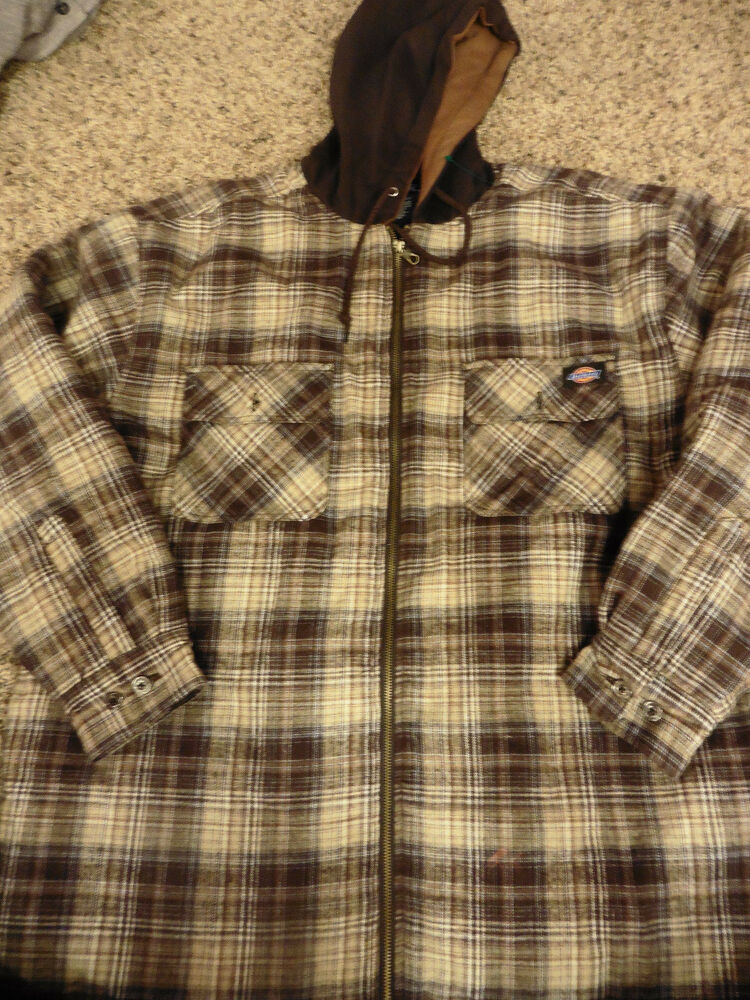 Mens Dickies Full Zip Quilt Lined Flannel Jacket Shirt