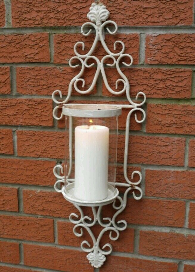 Antique Wall Sconce Candle Holders : French Shabby Chic Wall Sconce Candle Holder Antique Vintage Style Indoor Garden eBay