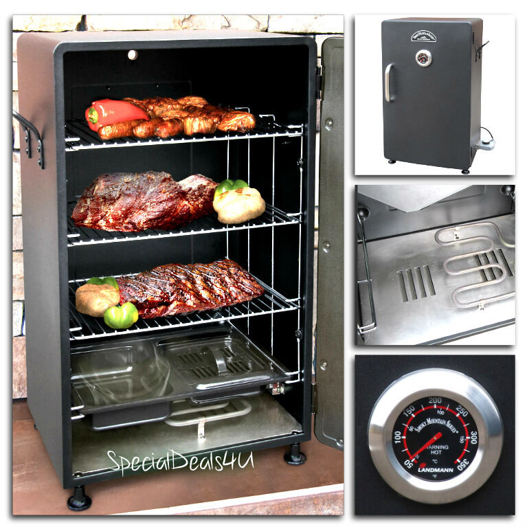 electric bbq smoker barbecue grill outdoor portable meat cooker digital rack new ebay. Black Bedroom Furniture Sets. Home Design Ideas