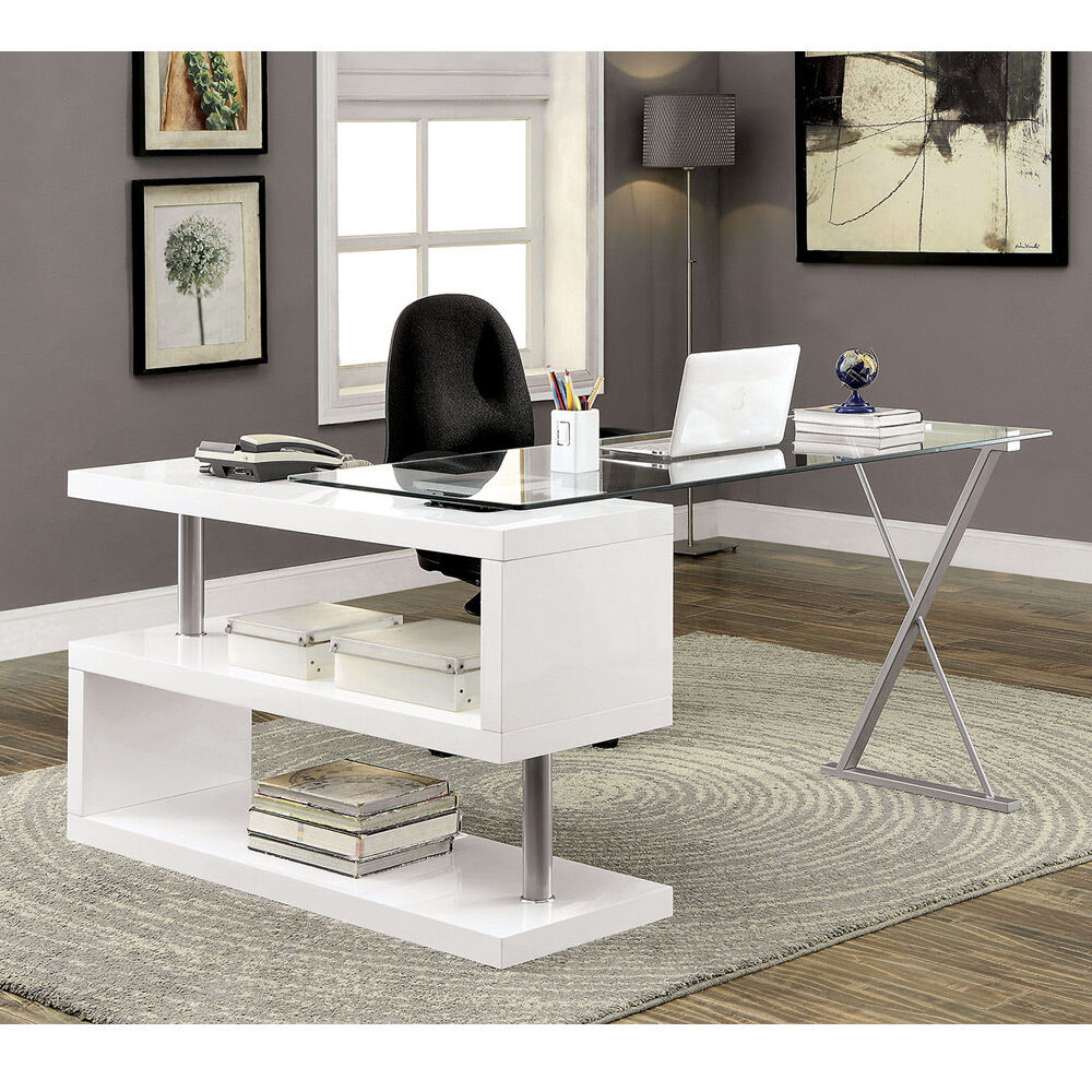 Bronwen Modern Office Writing Computer Desk S Shape Shelf Glass High