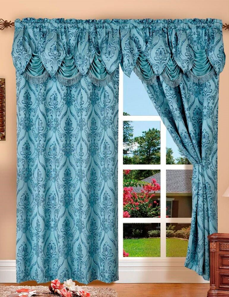 Penelopie Jacquard Rod Pocket Panel With Attached Valance