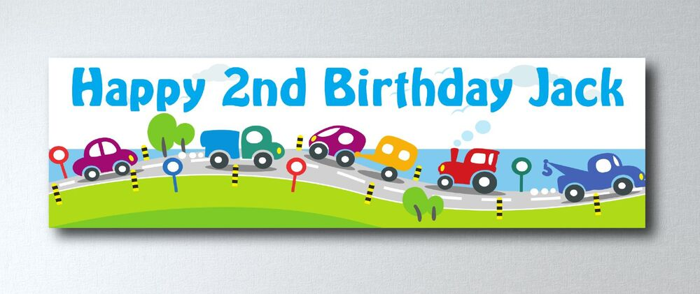 PERSONALISED BOYS CARS THEME BIRTHDAY LARGE PAPER BANNER LK