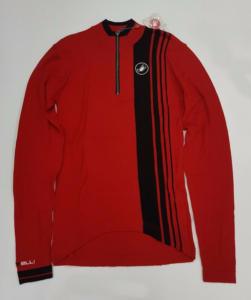 c11d72fc3 Details about Castelli Winter Costante Men s Long Sleeve Cycling Wool Jersey  Red Size S