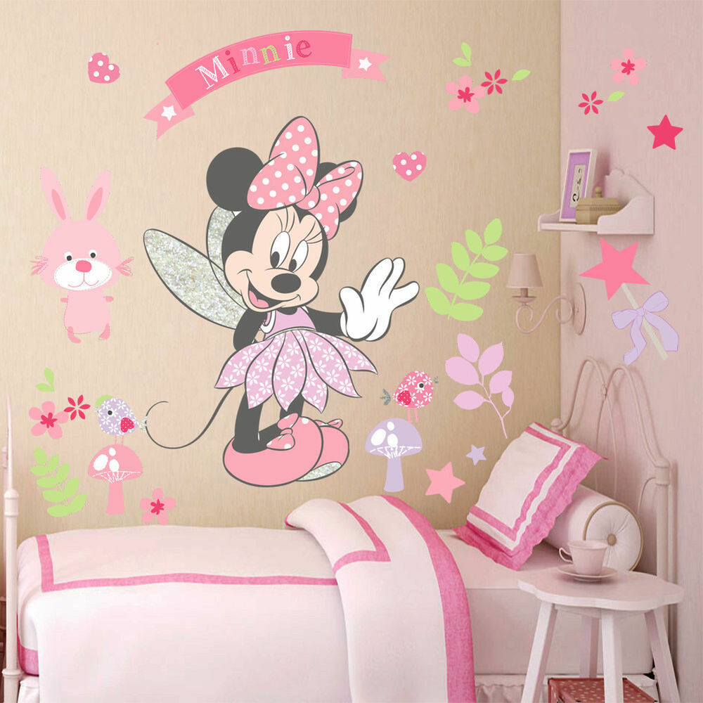 Exceptionnel Pink Minnie Mouse Wall Stickers Cartoon Mural Vinyl Decals Kids Girls Room  Decor