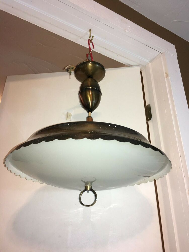 Vtg mid century modern pull down ceiling light fixture for Mid century modern pendant light fixtures