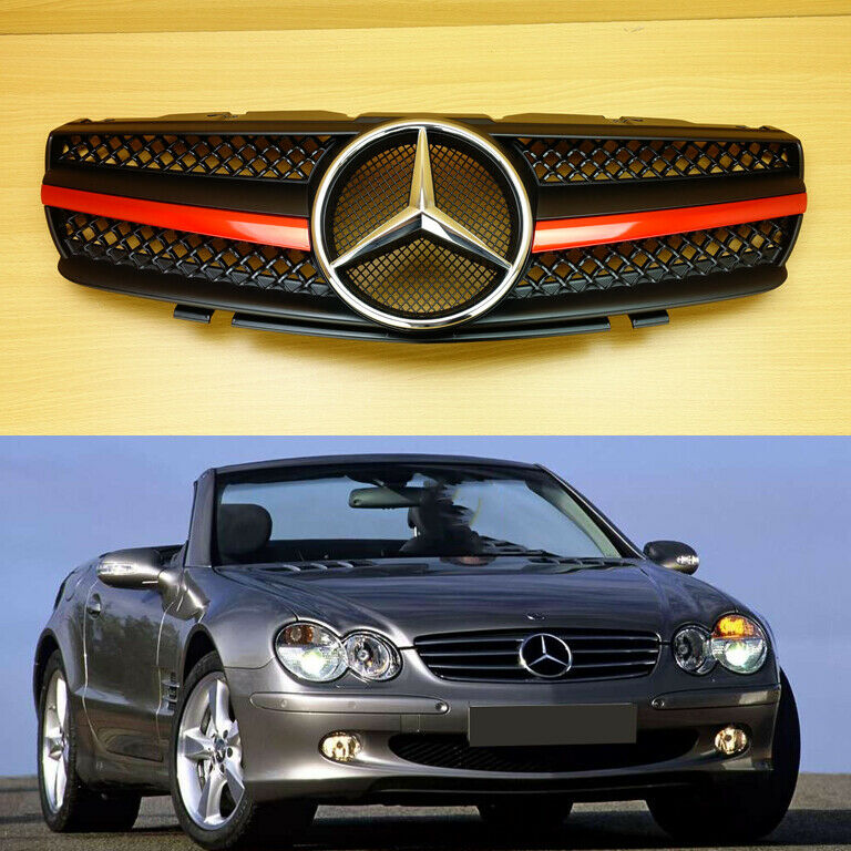 2003 Mercedes Benz Sl Class Exterior: Front Grille SL Style Red Metallic Matte Black For M-Benz