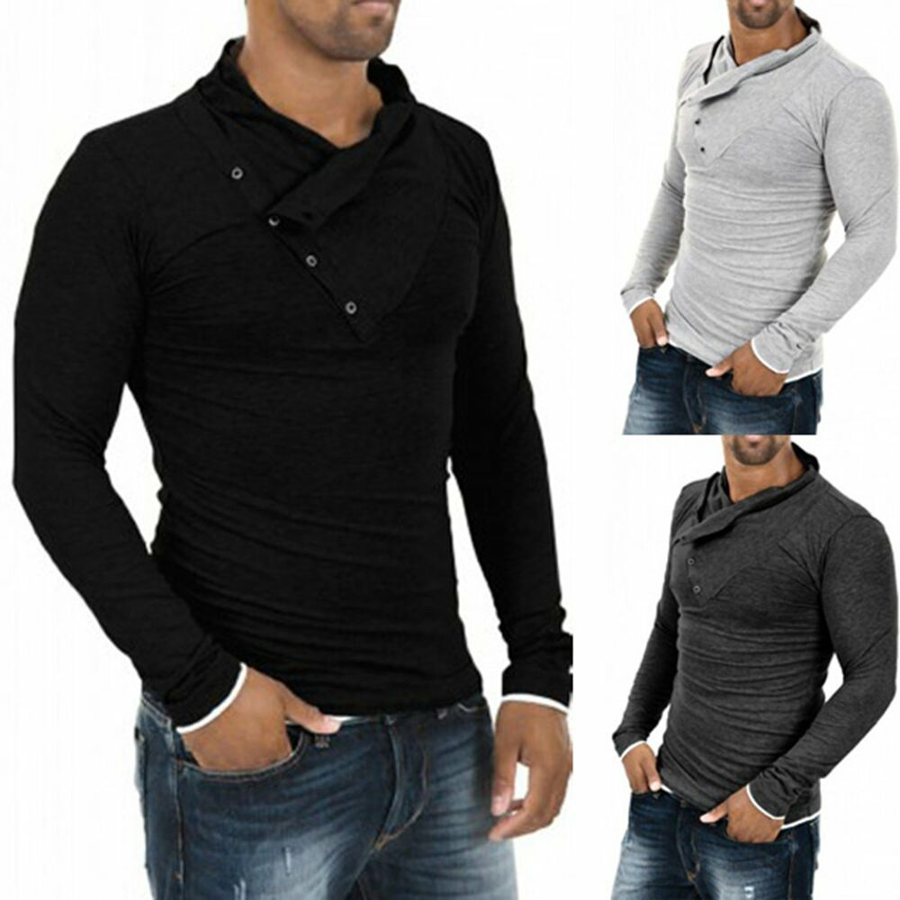 Men 39 s stylish slim fit casual fashion t shirts polo shirt for Long sleeve fitted polo shirts