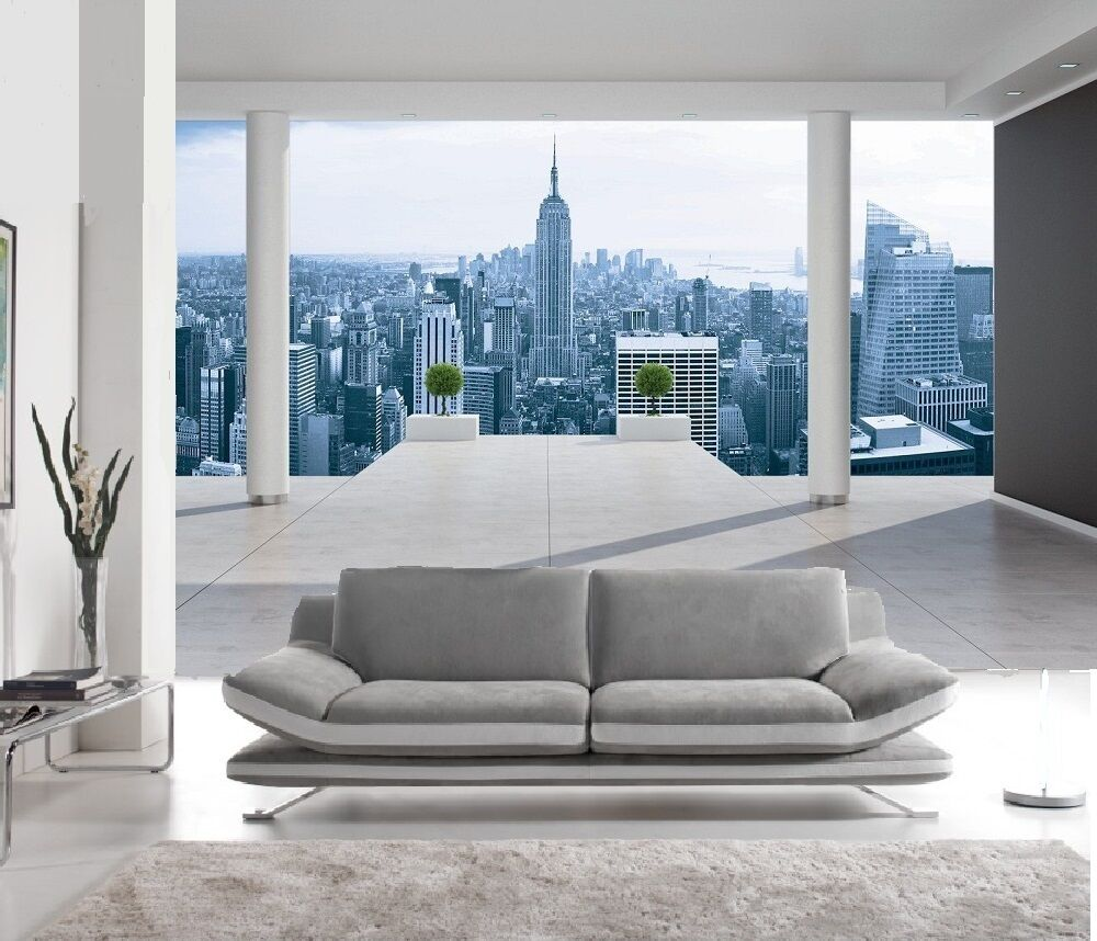 papier peint 3d trompe l 39 oeil new york photo murale relief 3d balcon new york ebay. Black Bedroom Furniture Sets. Home Design Ideas