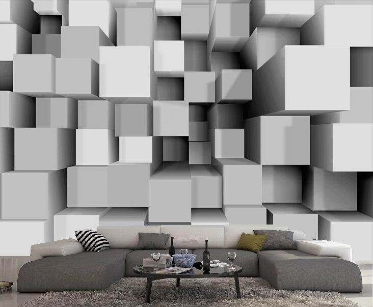 papier peint 3d trompe l 39 oeil moderne photo murale relief 3d blanc et cube ebay. Black Bedroom Furniture Sets. Home Design Ideas