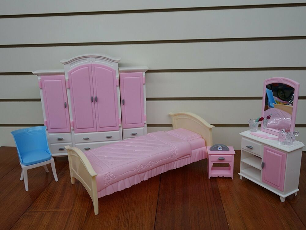 Barbie Size Dollhouse Furniture Bed Room Wardrobe Set